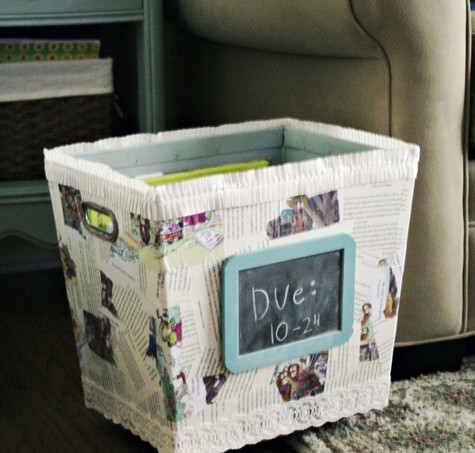 Make a library book bin - using old book pages