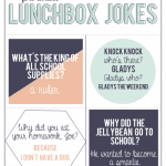 Children absolutely love finding lunch box jokes when they open their brown bag! Get a free printable sheet of four here.