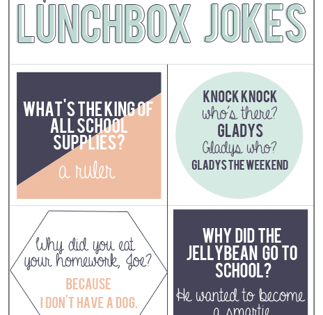 Lunchbox jokes free printable