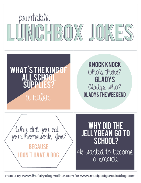 Lunchbox jokes free printable