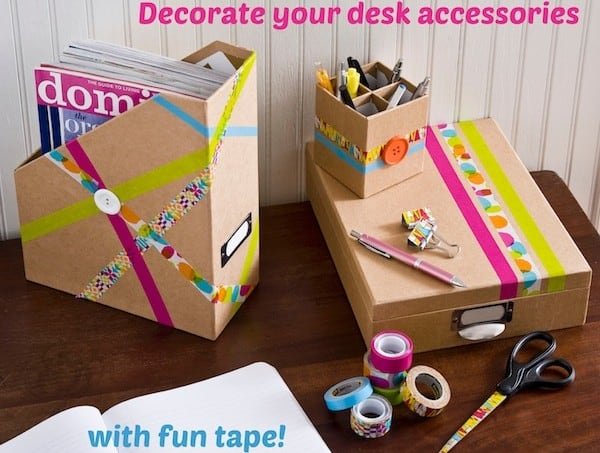 Decorate your desk accessories with fun tape