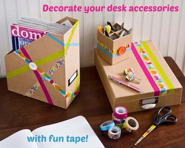 Easy back-to-school desk accessories with cool tapes. #ScotchBTS