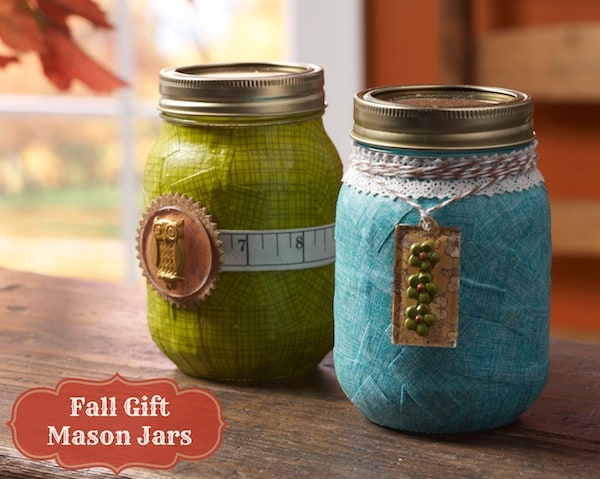 Mason jar crafts: fall gift jars