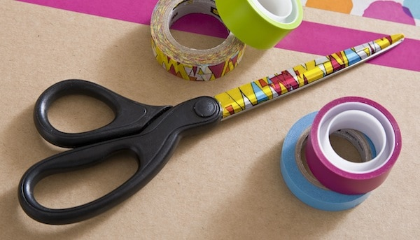 Scissors decorated with patterned tape and Dimensional Magic