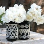 Mason jar decor with lace and flowers