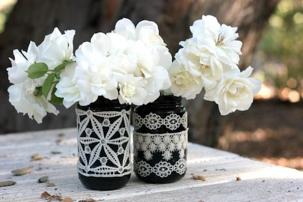 Make lace vases in less than an hour! This project is perfect for fall decorating and would also be fun for a vintage addition to your Halloween decor.