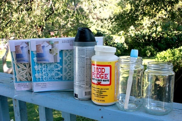 Supplies to make lace mason jars