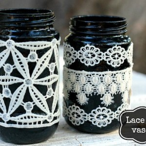 Black DIY lace vases for fall