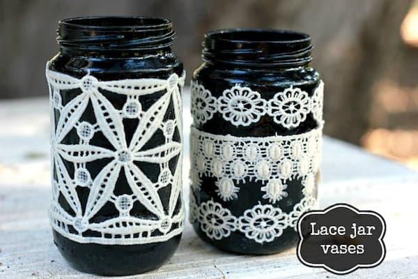 Black DIY Lace Mason Jars in Minutes