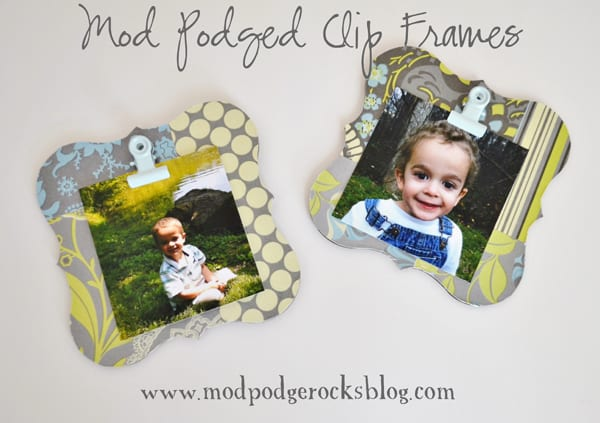 When I found these plain wood shapes, I knew they'd make perfect frames for displaying pics of my kids. I used scrapbook paper, but fabric would work too!