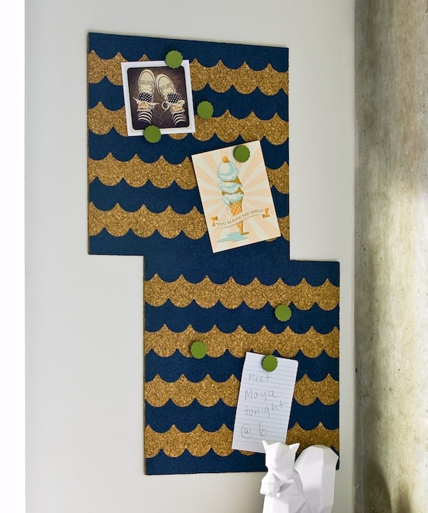 Decorate a corkboard on a budget with scalloped tape