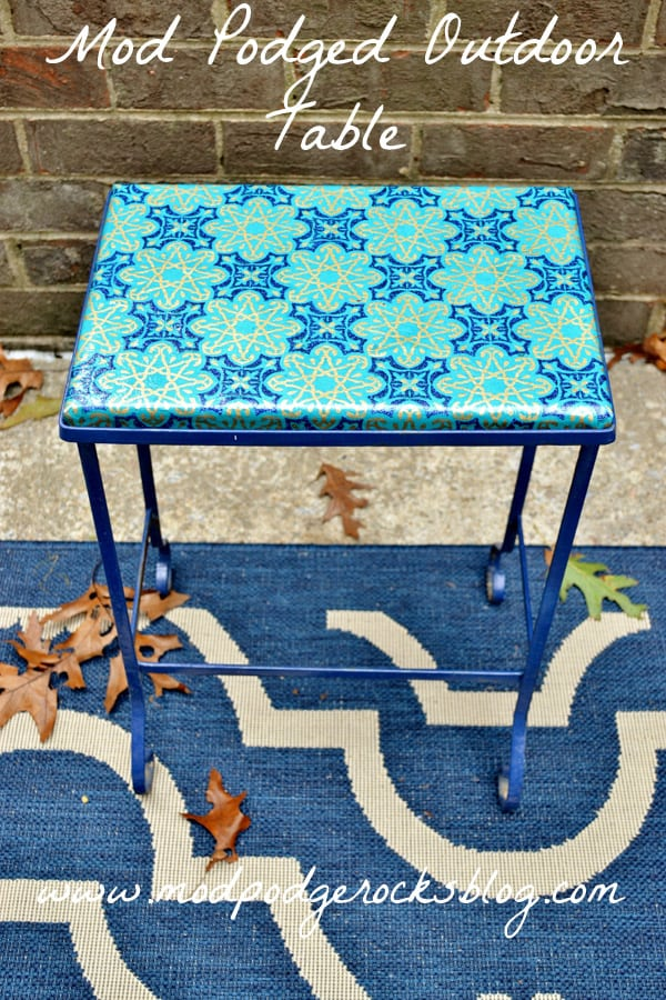 mod podge outdoor tabletop with wrapping paper mod podge. Black Bedroom Furniture Sets. Home Design Ideas