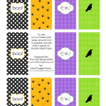 Personalize your mini chocolate bars with these printable Halloween candy bar wrappers! Get a sheet of four different designs for free.