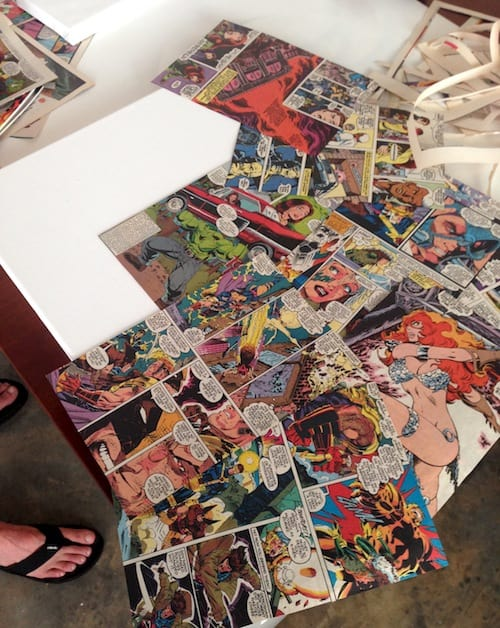 Comic book pages Mod Podged to canvas