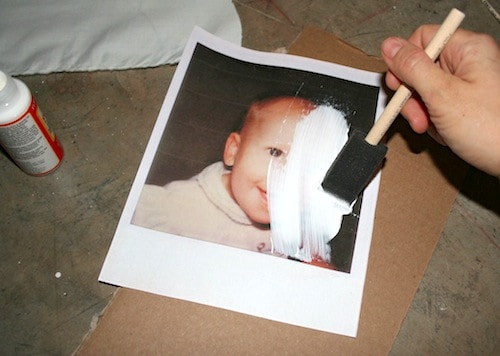 Apply photo transfer medium to a photo
