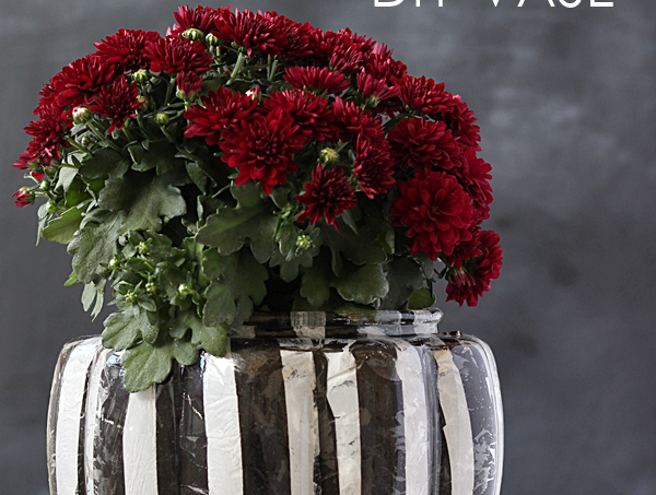 Make a striped DIY pumpkin vase