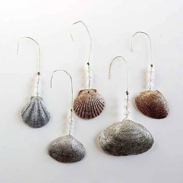 DIY Christmas ornaments - glittery shells