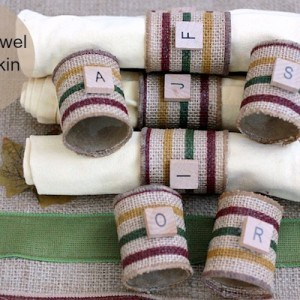 DIY napkin rings from paper towel rolls