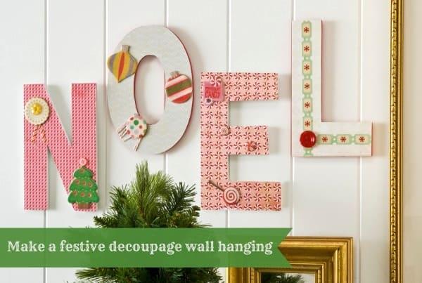 Easy NOEL Christmas wall hanging