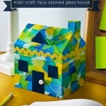 Easy kids craft faux stained glass house