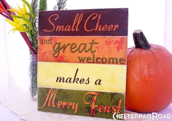 Use the provided printables to make this festive DIY Thanksgiving sign - welcome your guest in style or use it for pretty mantel decor.