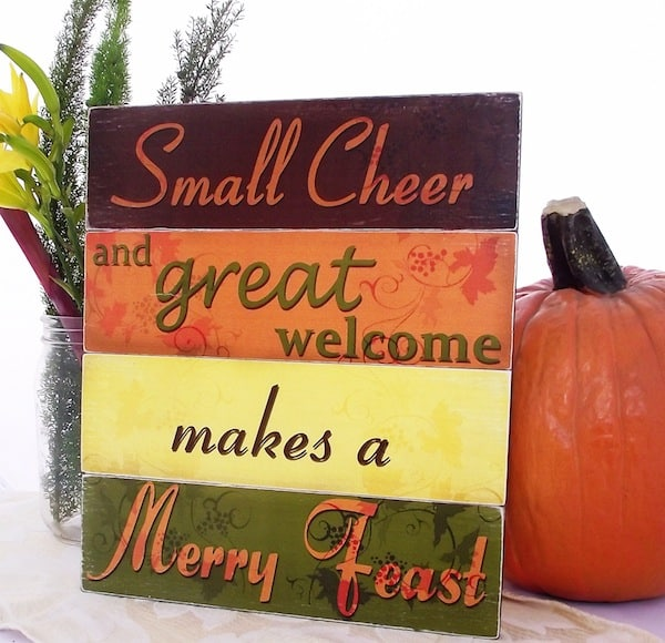 "DIY Thanksgiving ""merry feast"" sign"