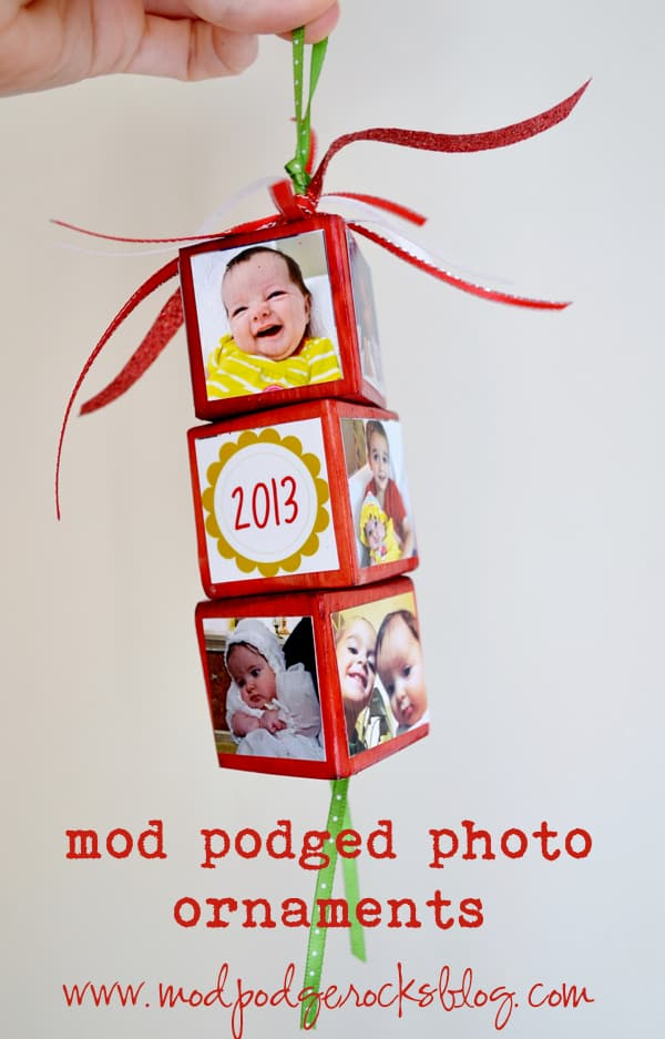Mod Podged photo Christmas ornaments