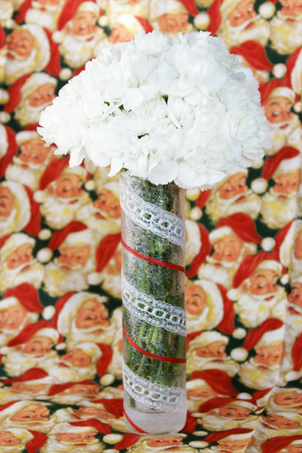 Easy festive ribbon holiday vase