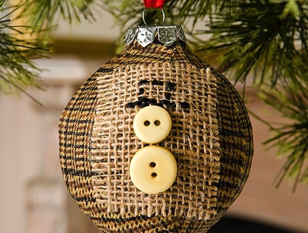 Burlap button snowman ornament
