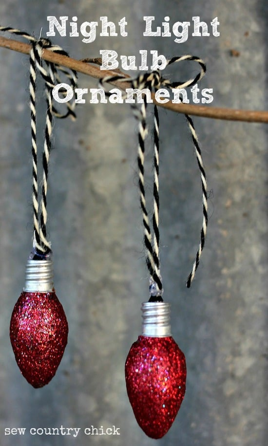 Don't throw away burned out night light bulbs - turn them into Christmas ornaments with Mod Podge and glitter!