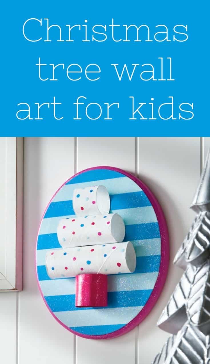 This DIY tree plaque is one of our favorite easy Christmas crafts for kids! Make it out of toilet paper rolls (so cheap!) - and sparkle it up with Mod Podge. Fun to make at school . . . or for preschool age children. Even toddlers can do it with help!