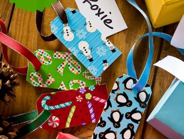 Duck tape craft - dry erase holiday gift tags