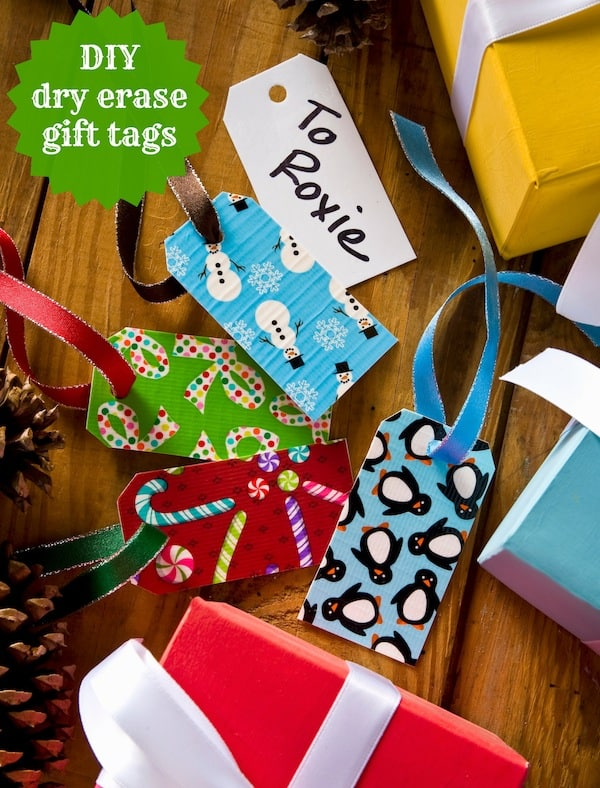 Duck tape crafts dry erase holiday gift tags mod podge for Holiday crafts for teens