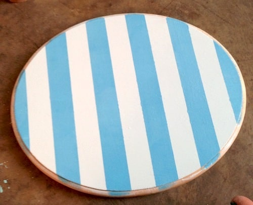 Striped painted plaque