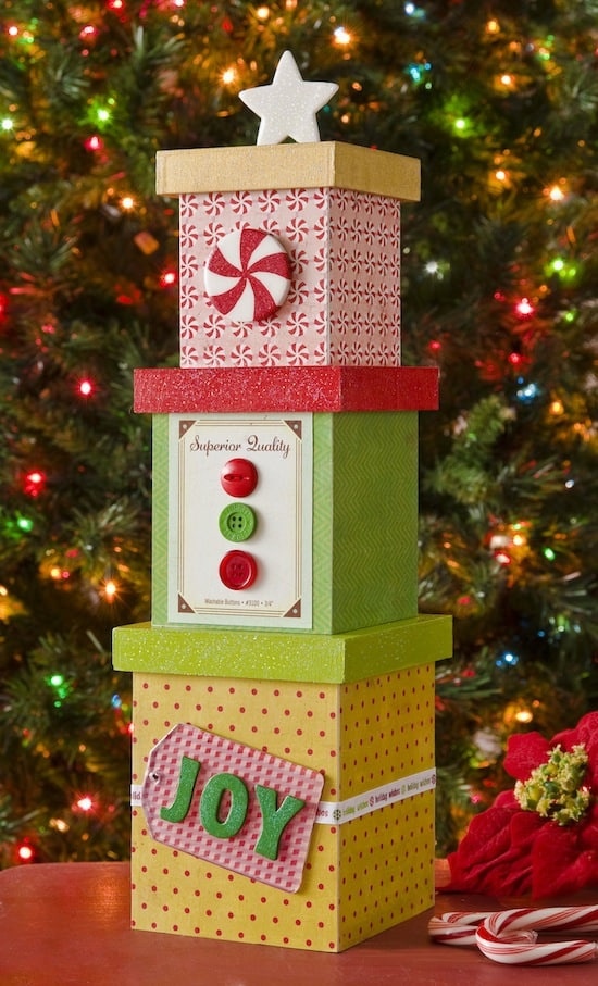make a christmas tree decoration out of boxes - Decorative Christmas Boxes