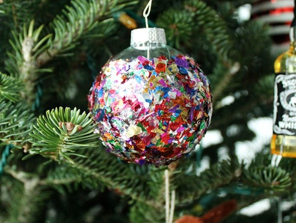 Mod Podge confetti ornament
