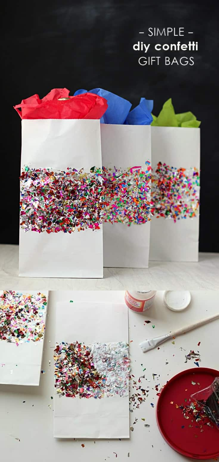 Create these unique DIY gift bags with your favorite Mod Podge formula and sparkly confetti. This is perfect for gift wrapping on a budget! These decorated paper bags would work for Christmas, for women, for kids birthday parties . . . the possibilities are endless.