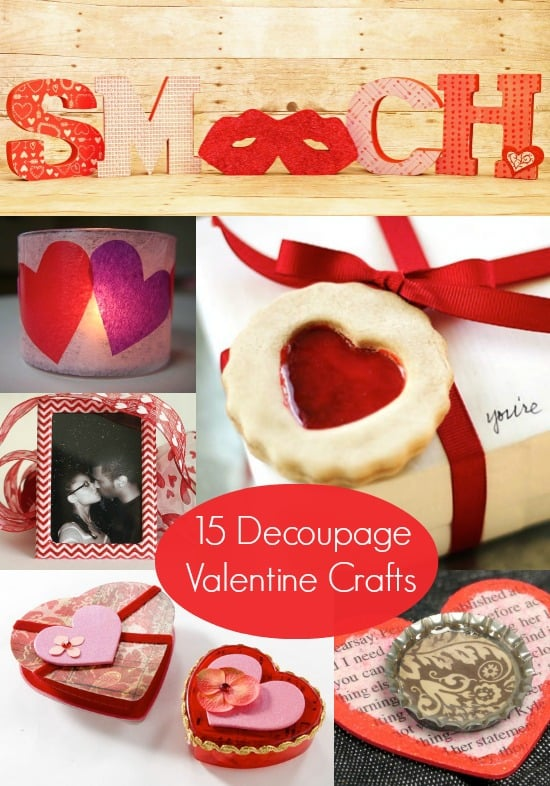 Do you love Valentine's Day and Mod Podge? Bring the two together with these 15 decoupage Valentine's Day crafts you'll love!