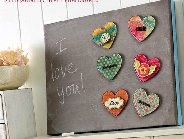 DIY magnetic heart chalkboard with Podgeable magnets