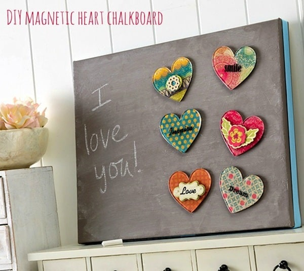 Use magnetic AND chalkboard paints on canvas to make a surface with two personalities! This DIY magnetic chalkboard is perfect for an organization center.