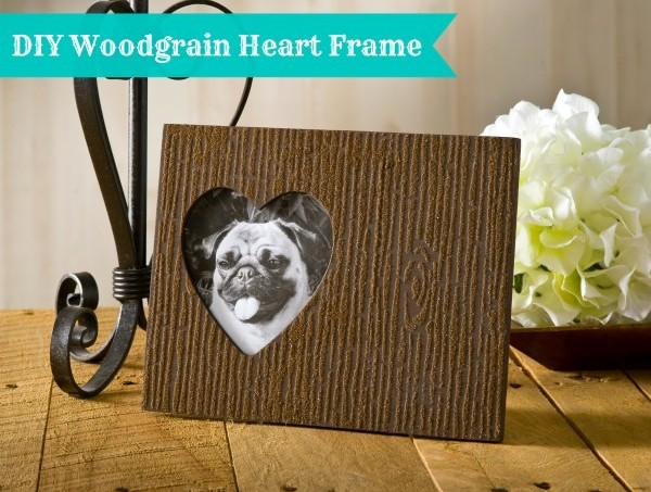 DIY woodgrain heart frame
