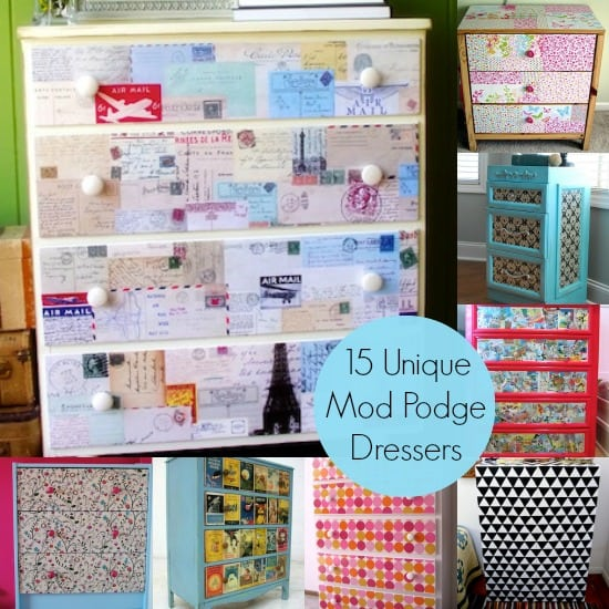 15 Unique DIY Dresser Ideas made with Mod Podge
