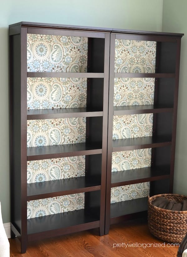 How To Decoupage A Bookcase With Fabric