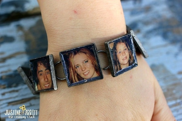 Decoupage a family photo bracelet