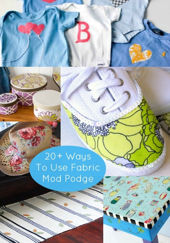 Have you been wondering what you can do with Fabric Mod Podge? Here are over 20 projects ranging from fashion to gifts to home decor that will show you how.