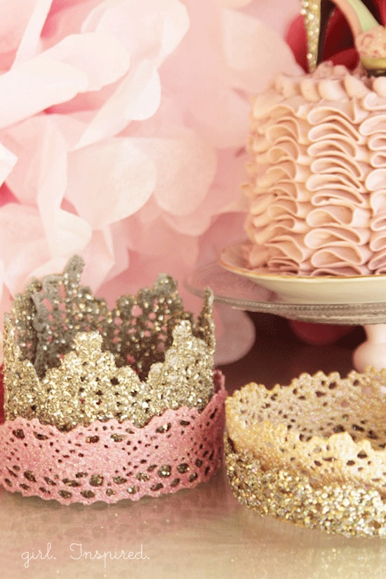 Use lace trim, paint, glitter and Mod Podge to make a DIY lace crown. These are perfect for a princess party or just for dress up!