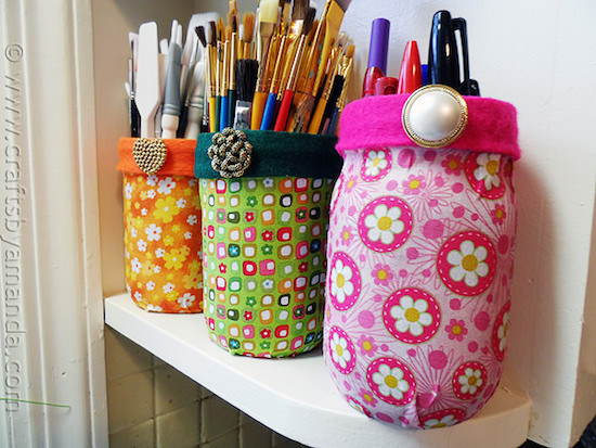 Fabric covered mason jars