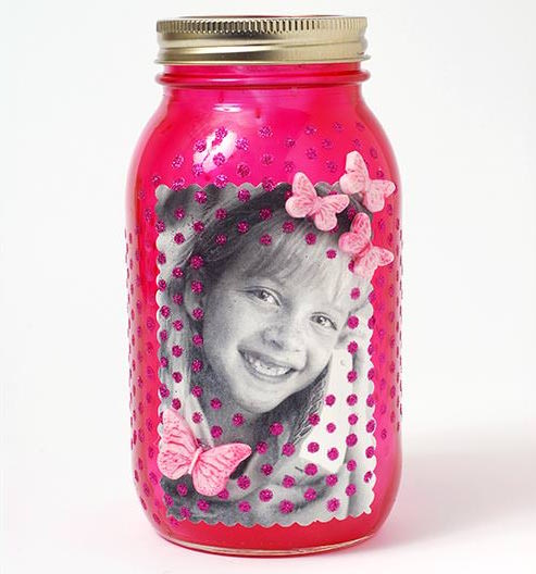Mason jar photo frame