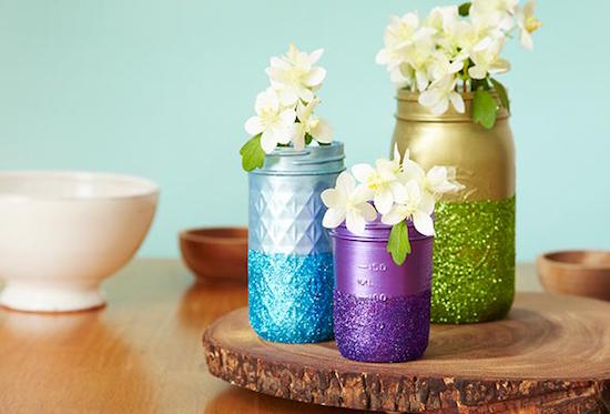 Painted and glittered mason jars