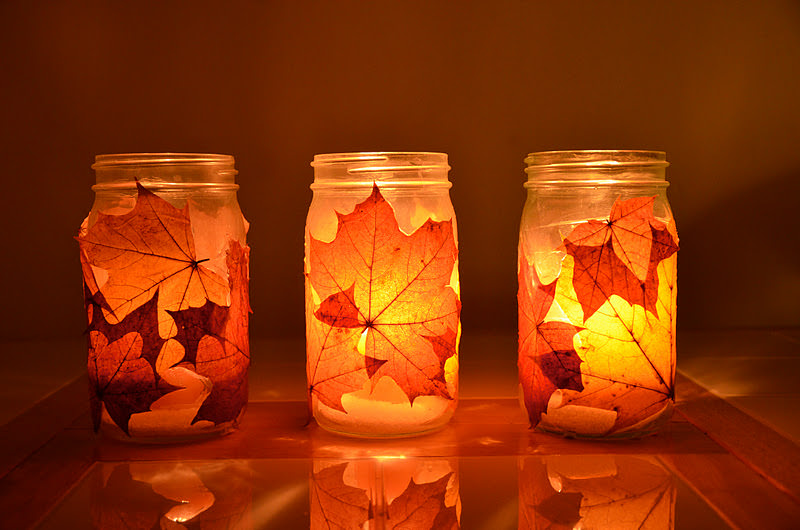 Real fall leaf luminaries for autumn